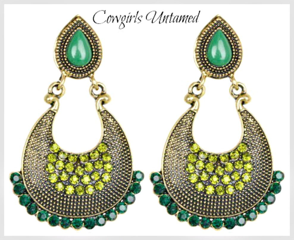 VINTAGE BOHEMIAN EARRINGS Green Vintage Charm Crystal Rhinestone Earrings