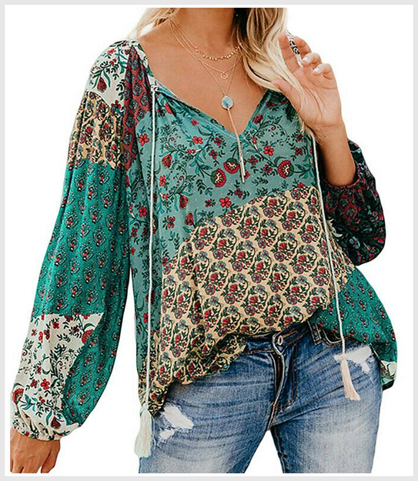 THE AMANDA TOP Turquoise Red Green Mixed Floral Pattern Boho Long Sleeve Peasant Tassel Tie Top