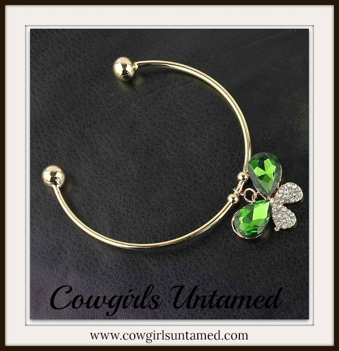 SOUTHERN BELLE BRACELET Green Butterfly on Gold Bangle Bracelet