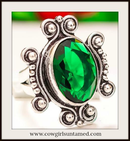 COWGIRL GYPSY RING  Chrome Diopside Gemstone 925 Sterling Silver Boho Ring