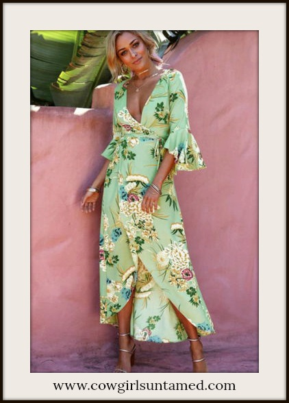 MAGNOLIAS BLOOM DRESS Multi Color Floral Ruffle Sleeve Light Green Wrap Dress