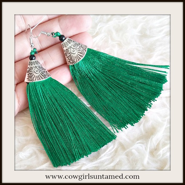 VINTAGE BOHEMIAN EARRINGS Green Tassel Long Antique Silver Boho Earrings