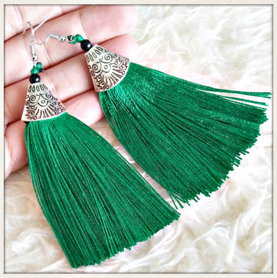 VINTAGE BOHEMIAN EARRINGS Green Tassel Long Antique Silver Boho Earrings