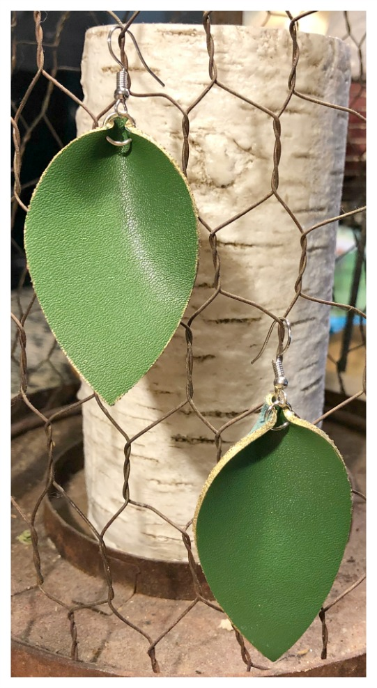 THE KELLY EARRINGS Gold Trimmed Green Genuine Leather Teardrop Earrings