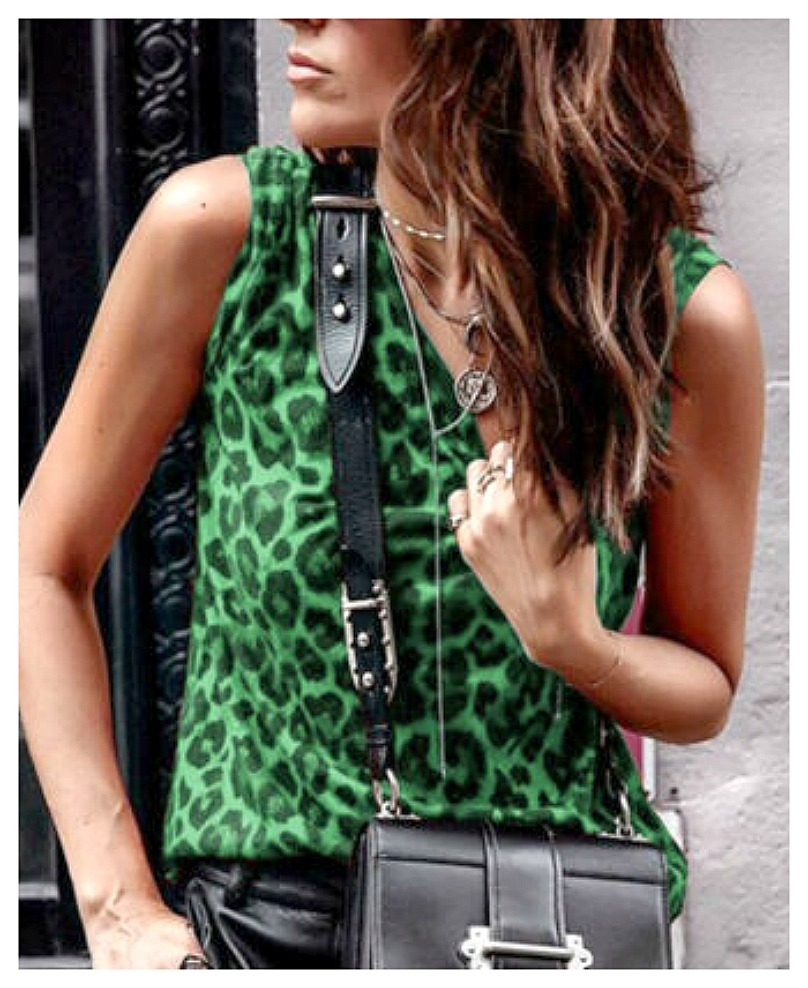 INTO THE WILD TANK TOP Stretchy Green & Black Sleeveless Leopard Animal Print Tank Top S-XL