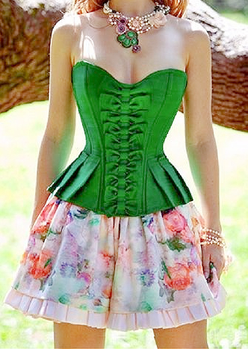 GREEN ENVY CORSET - Bright Green Satin Peplum Style Bow Accented Strapless Lace Up Corset Top - 2XL PLUS SIZE only
