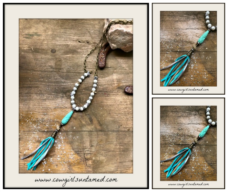 BOHEMIAN COWGIRL NECKLACE Floral Carved Green Aqua Shell & Leather Tassel Pendant Pearl Necklace