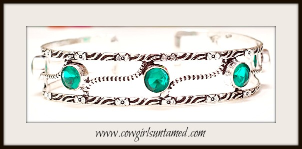 COWGIRL GYPSY BRACELET Green Tourmaline Gemstones on Etched Sterling Silver Cuff