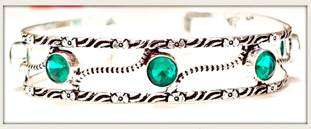BOHO HIPPIE BRACELET Green Tourmaline Gemstones on Etched Sterling Silver Cuff