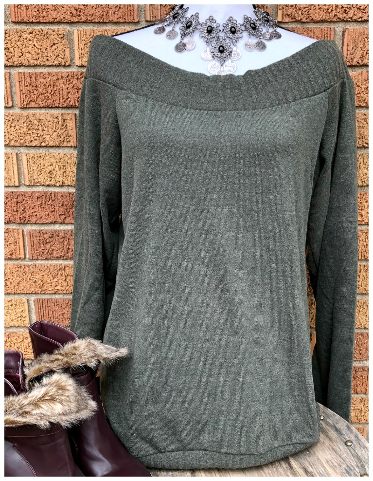 THE JESSIE SWEATER Off the Shoulder Sexy Olive Green Loose Fit Knit Sweater M-2X
