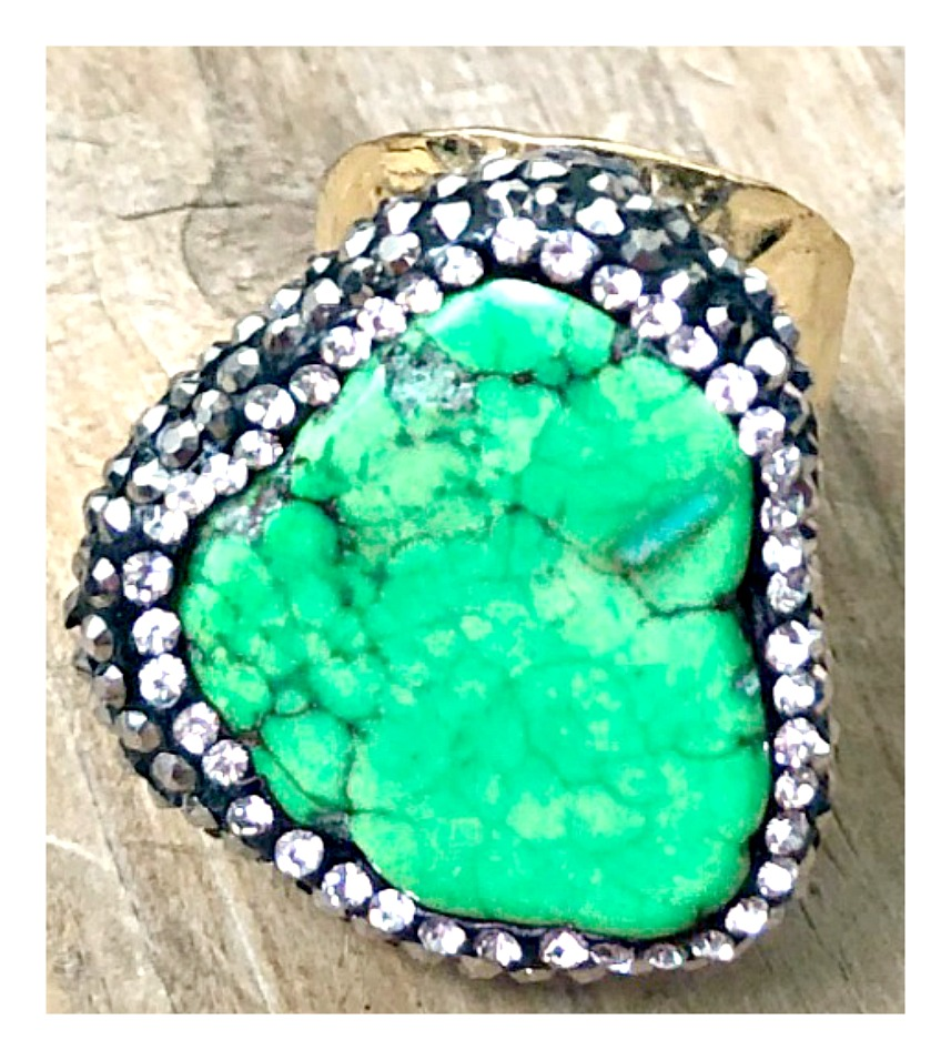 COWGIRL GYPSY RING Green Turquoise Surrounded by Pave Zircon Gold Plated Ring