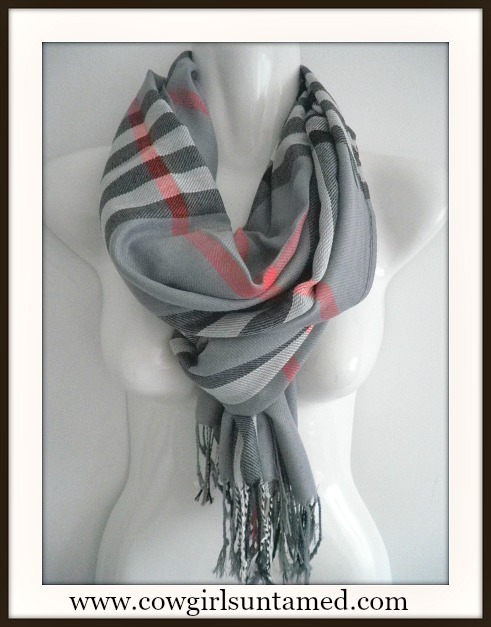 COWGIRL GLAM SCARF Grey Red Black Plaid Pashmina Fringe Scarf / Shawl