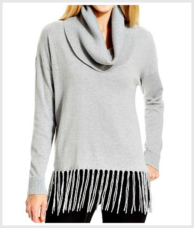 MICHAEL KORS SWEATER Soft Light Grey Fringe Cowl Neck Designer Sweater LAST ONE XL