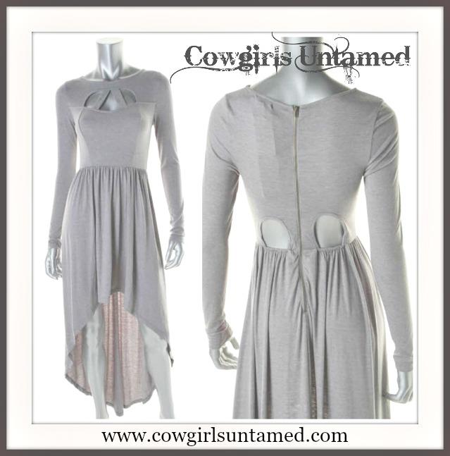 COWGIRLS ROCK DRESS Edgy Cut Out Neckline Open BackHi Lo Hemline Grey Dress