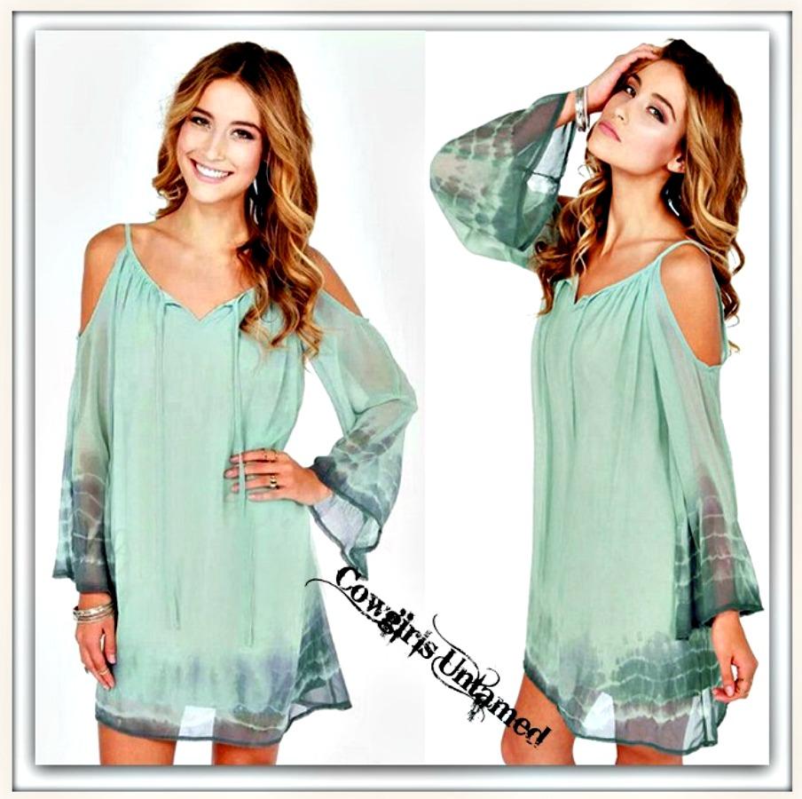 COWGIRL GYPSY DRESS Soft Pastel Aqua & Grey Tie Dye Open Shoulder Chiffon Mini Dress
