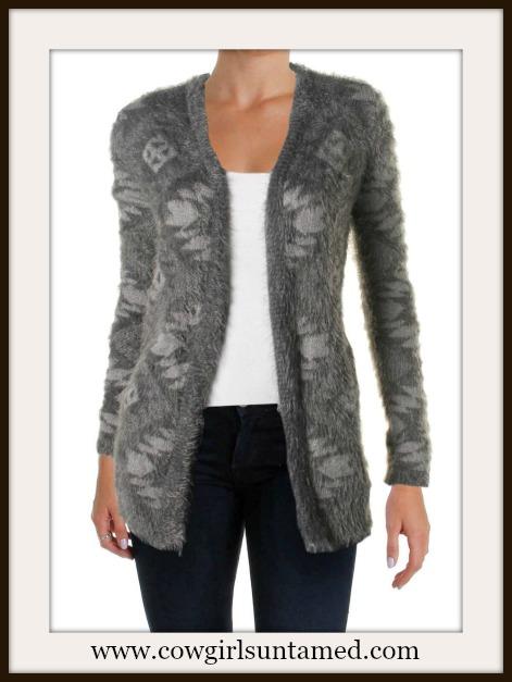 DESIGNER SWEATER Soft Grey Eyelash Knit Open Designer Cardigan