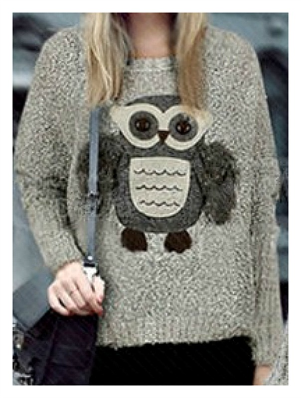 COUNTRY COWGIRL SWEATER Fluffy Button Eyed Owl Comfy Oatmeal Sweater