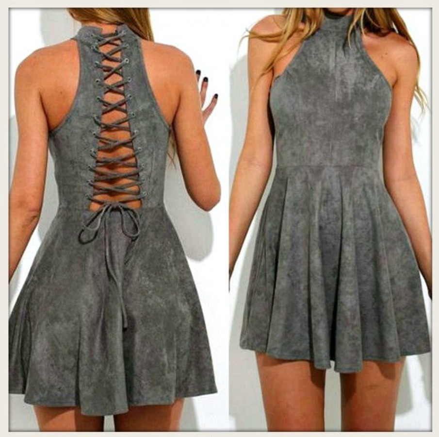 THE KARA DRESS Dark Grey Faux Suede Lace Up Back Sleeveless Mini Dress