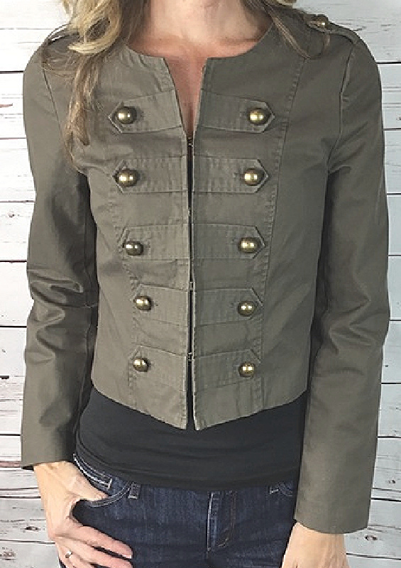 TINLEY ROAD JACKET  Brass Button Grey Lined Collarless Womens Military Jacket LAST ONE S