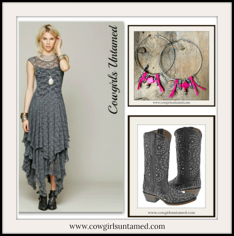 Cowgirl Gypsy Tiered Lace Cap Sleeve Western Dress Black