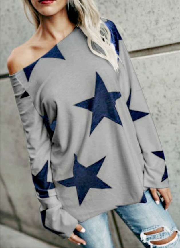 RODEO REBEL TOP Blue Star Long Bell Sleeve Grey Top