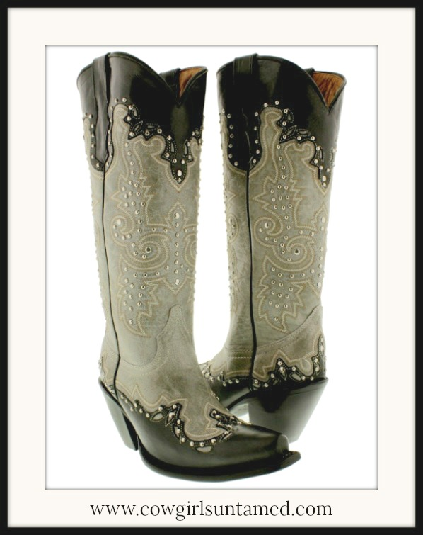 COWGIRL GYPSY BOOTS Studded Tall Grey Taupe & Black GENUINE Leather Boots