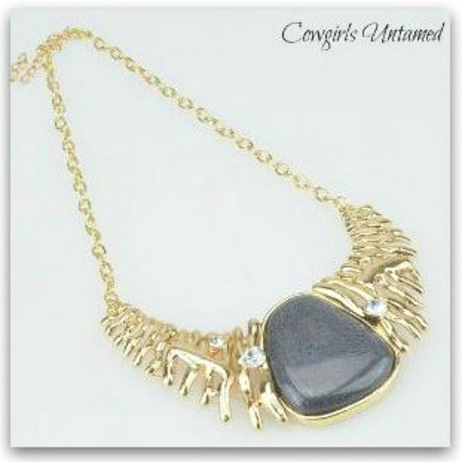 COWGIRL GYPSY NECKLACE Crystal Smoke Gray Stone Bib Necklace & FREE CHARM