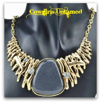 COWGIRL STYLE NECKLACE Crystal Smoke Gray Stone Bib Necklace & FREE CHARM