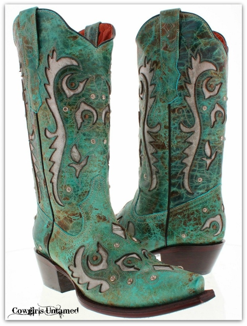 COWGIRL STYLE BOOTS Rhinestone Studded Turquoise GENUINE LEATHER Snip Toe Western Boots