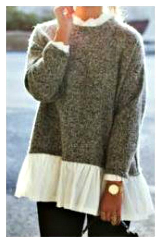WILDFLOWER SWEATER Long Sleeve Charcoal Grey and White Ruffle Neck & Hemline Oversized Sweater LAST ONE!
