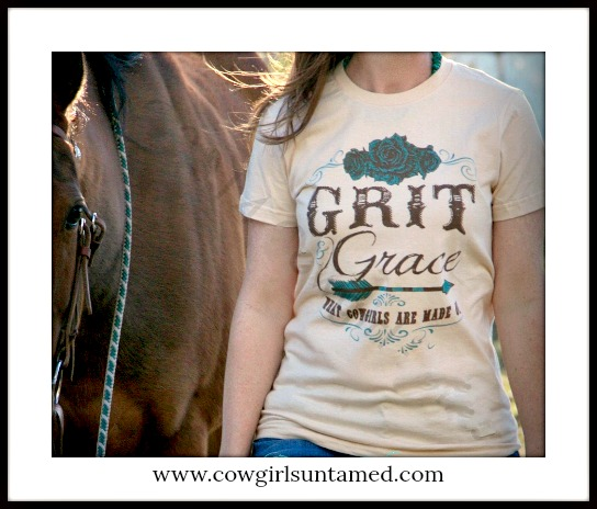 "COWGIRL ATTITUDE TEE ""Grit & Grace What Cowgirls Are Made Of"" Short Sleeve Tan Western T-Shirt"
