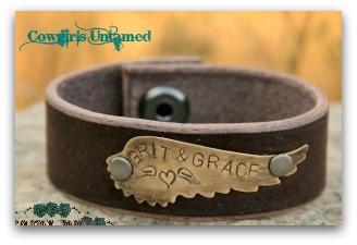 "COWGIRL STYLE BRACELET Brass ""Grit & Grace"" Angel Wing on Brown Leather Cuff Bracelet"