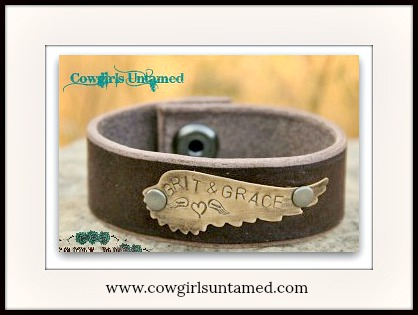 "COWGIRL STYLE BRACELET Brass ""Grit & Grace"" Angel Wing on Brown Leather Cuff Bracelet"