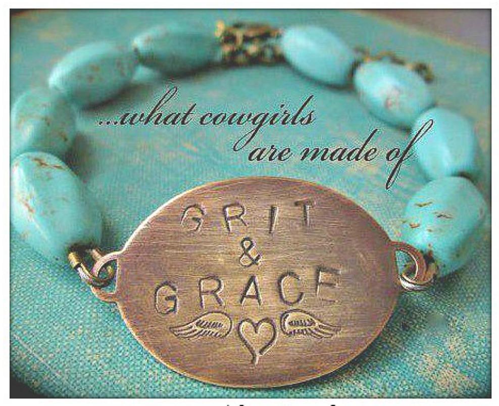 """WESTERN COWGIRL BRACELET Bronze """"Grit N Grace"""" Turquoise Beaded Bracelet LAST ONE"""