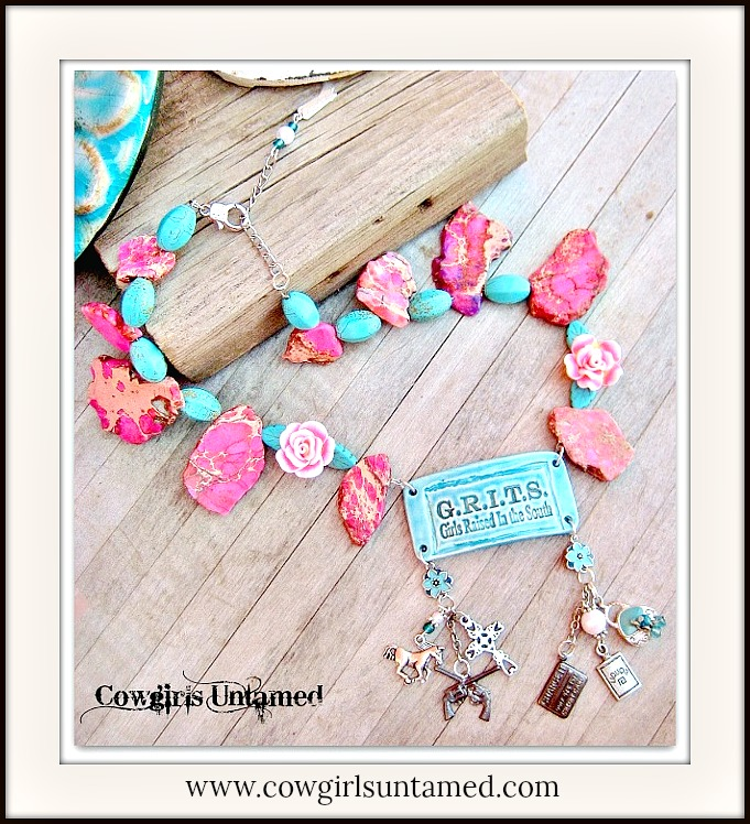 "SOUTHERN BELLE NECKLACE ""G.R.I.T.S Girls Raised In The South"" Pendant Charm Chunky Western Necklace"
