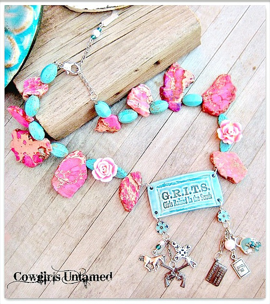 """SOUTHERN BELLE NECKLACE Custom """"G.R.I.T.S Girls Raised In The South"""" Pendant Charm Chunky Western Necklace"""