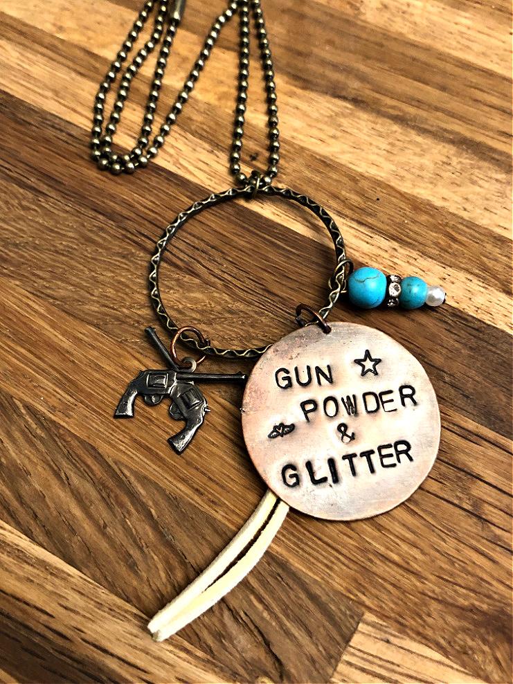 "GUNS & COWGIRLS NECKLACE Handmade Stamped Copper Gun Powder Glitter"" Pendant Turquoise Rhinestone Tassel Sixshooter Pistol Charm Antique Bronze Necklace"