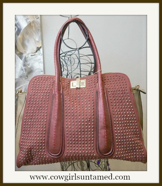GOING GLAM HANDBAG Gunmetal Crystals on Burgundy and Tan Large Tote Handbag