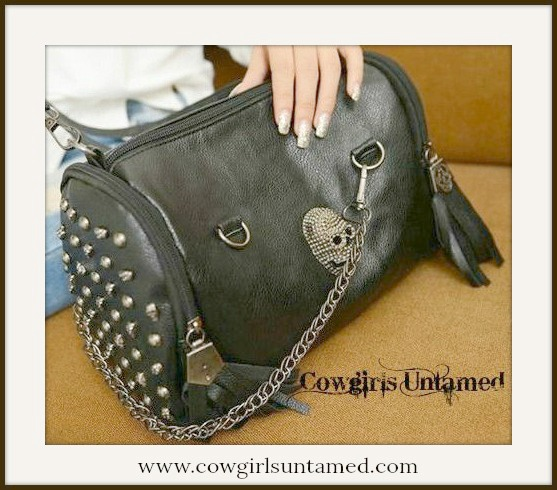 COWGIRLS ROCK PURSE Pewter Skull and Tassels on Faux Leather Studded Handbag
