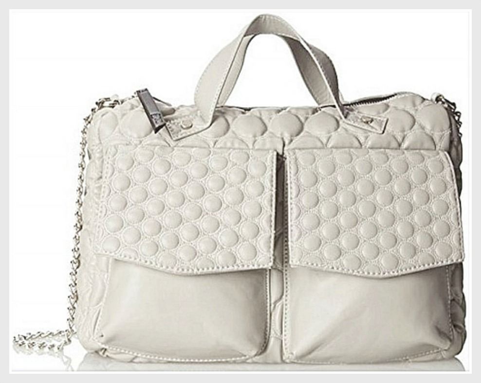 DESIGNER HANDBAG Gwen Stefani LAMB Quilted Light Gray Large Designer Shoulder Bag LAST ONE