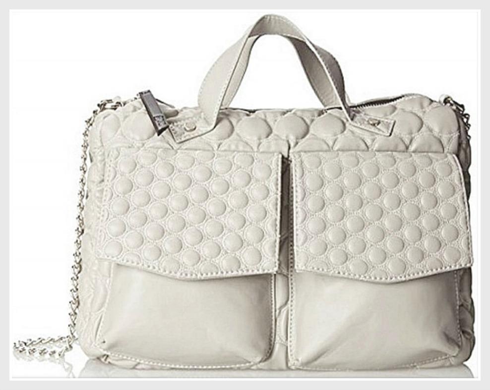 DESIGNER HANDBAG Gwen Stefani LAMB Quilted Light Gray Large Designer Shoulder Bag LAST ONE