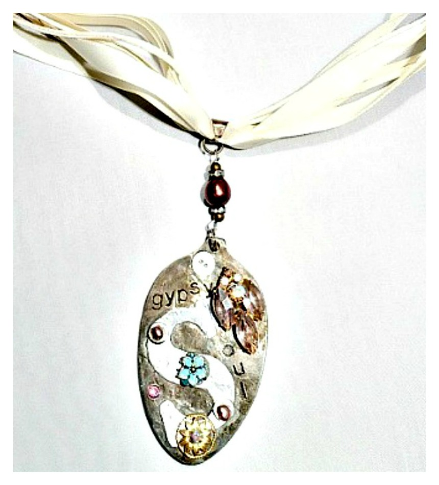 "COWGIRL GYPSY NECKLACE ""Gypsy"" Soul"" Decorated Vintage Spoon Pendant Ribbon Leather Necklace"