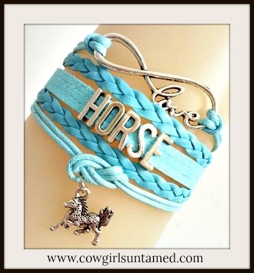 "HORSE LOVIN' COWGIRL BRACELET Blue Multi Strand Leather with Silver ""HORSE"" Bracelet  LAST ONE"