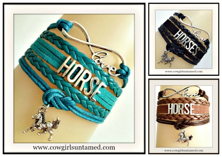 "HORSE LOVIN' COWGIRL BRACELET Multi Strand Leather with Silver ""HORSE"" Bracelet  8 COLORS!!"