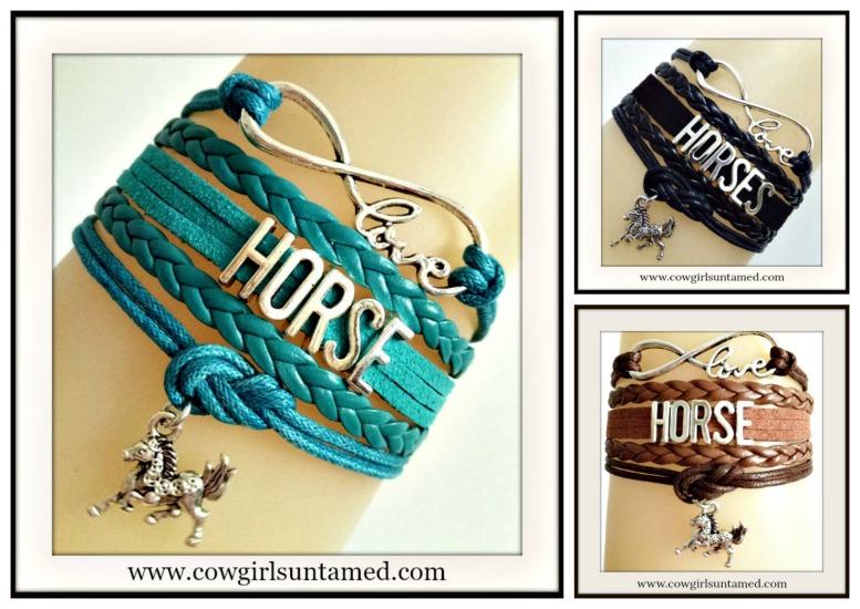 "HORSE LOVIN' COWGIRL BRACELET Multi Strand Leather with Silver ""HORSE"" & Horse Charm Bracelet"