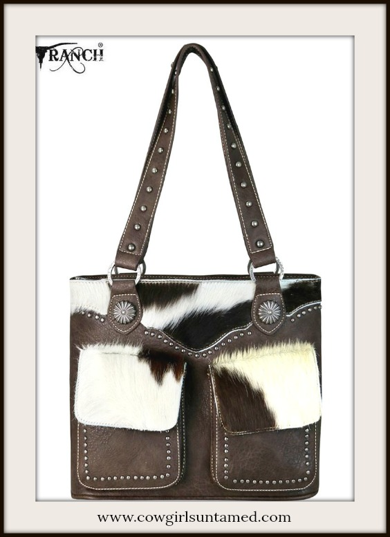 BOHEMIAN COWGIRL TOTE Hair on Hide Double Pocket Leather Tote