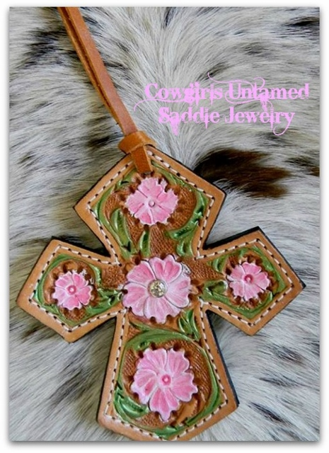COWGIRL PET STYLE Hand Painted Pink N Green Floral Embossed GENUINE LEATHER Tie on Saddle Western Cross