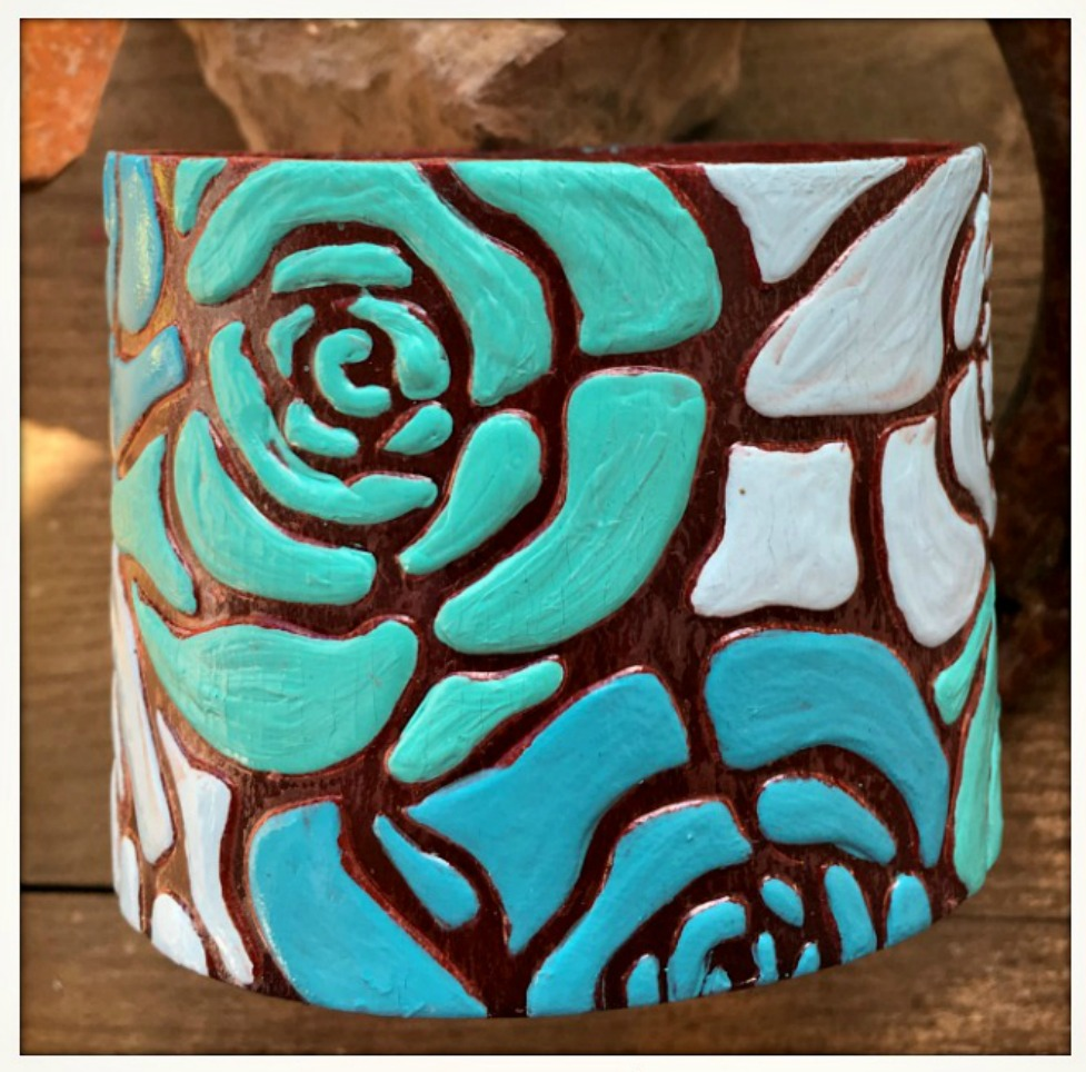 COWGIRL GYPSY BRACELET Hand Painted in Shades of Blue & Green Floral Leather Cuff