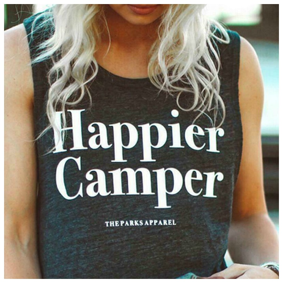 "HAPPIER CAMPER TOP White ""Happier Camper"" Charcoal Sleeveless Loose Fit Tank Top"