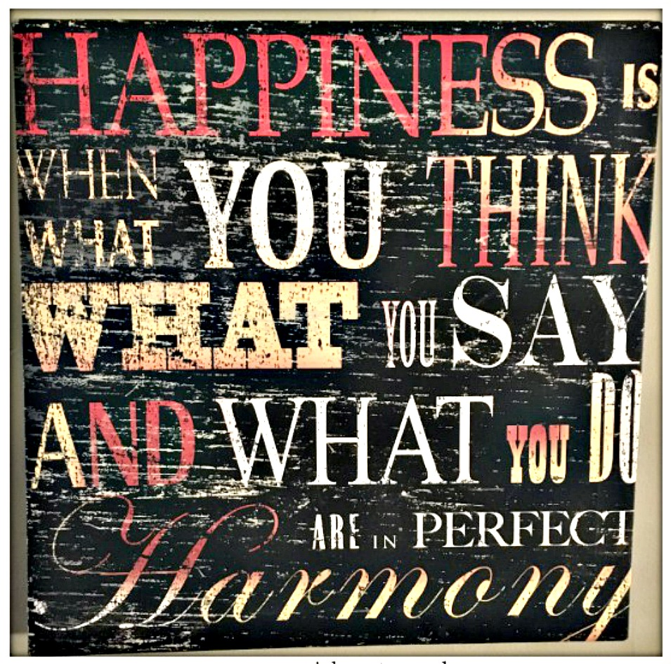"COWGIRL STYLE DECOR ""Happiness is when what you think...Western Hanging Canvas Sign"
